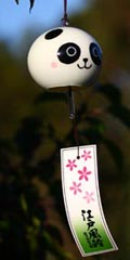 Glass Wind Chimes 'Edo Furin' Panda
