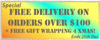 Free delivery on all orders over $100 + Free gift wrapping for Christmas!