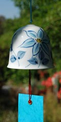 Ceramic Wind Bell - Clematis Blue