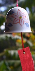 Ceramic Wind Bell - Clematis Red